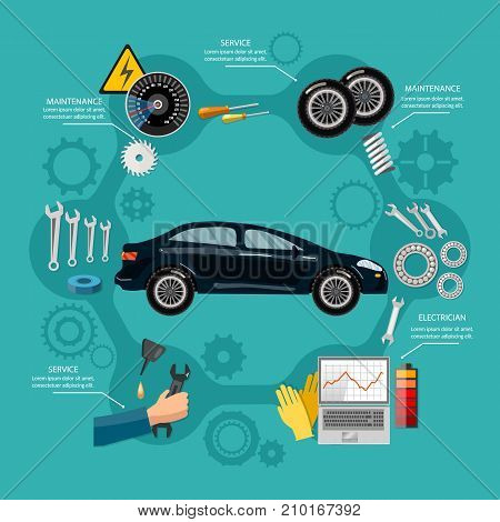 Car service mechanic tool box tire service car repair runing diagnostics vetor