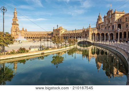 SEVILLA,SPAIN - OCTOBER 1,2017 - View at the North side of Plaza de Espana in Sevilla. Sevilla is situated on the plain of the river Guadalquivir.