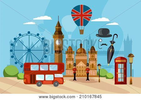 London City Skyline London United Kingdom. London vector illustration. Travel and tourism background