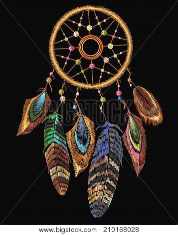 Embroidery dreamcatcher boho native american indian talisman dreamcatcher. Clothes ethnic tribal design. Magic tribal feathers. Fashionable template for design of clothes