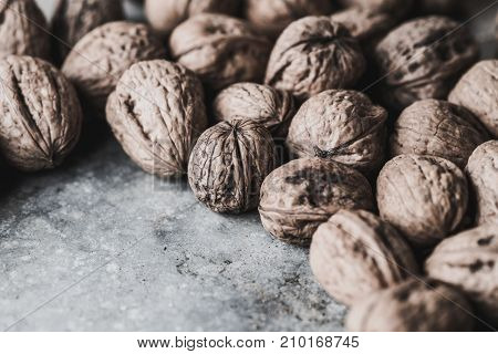 Walnuts On An Old  Table