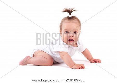 Cute Cheerful Little Girl In White Shirt