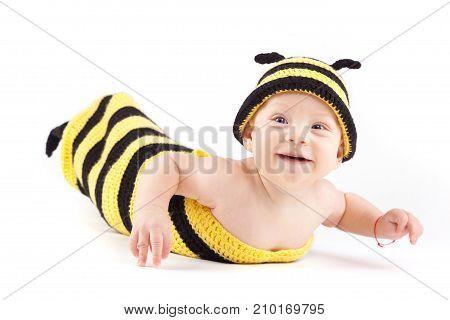 Happy Little Boy In Bee Costume