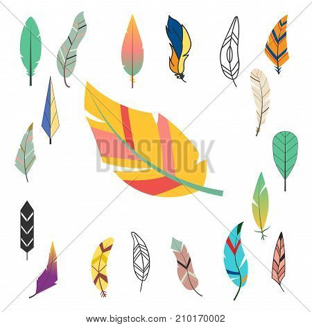 Tribal flat feather different style bird vintage colorful ethnic hand drawn element decorative drawing nature quill painting vector illustration. Creative indian elegance ink symbol.