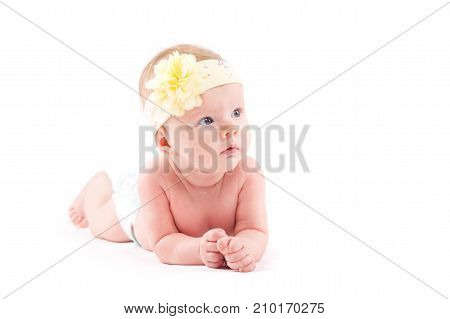 Cute Beauty Little Girl In White Diaper And Flower Wrap