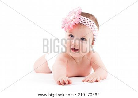 Cute Beauty Little Girl In White Diaper And Wrap
