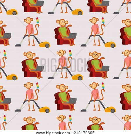 Monkey cartoon businessman suit profile background seamless pattern portrait. Chimpanzee happiness man flat vector illustration. Ape person costume character design.