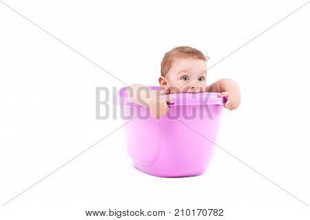 Cute Little Baby Boy Take Bath In Purple Tub