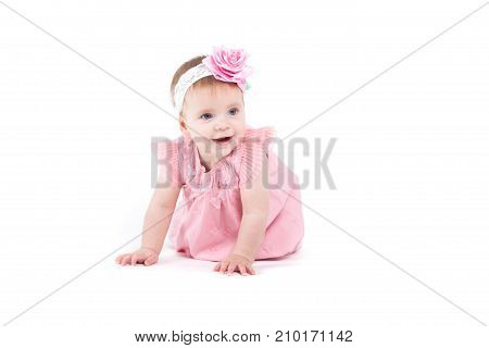 Cute Pretty Little Girl In Pink Dress
