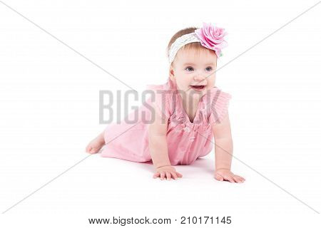Cute Beautiful Baby Girl In Pink Dress And Pink Wrap