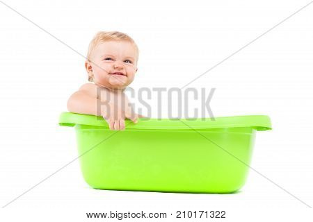 Cute Attractive Baby Boy Take Bath In Tub
