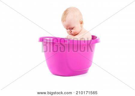 Happy Cute Baby Boy Take Bath In Tub