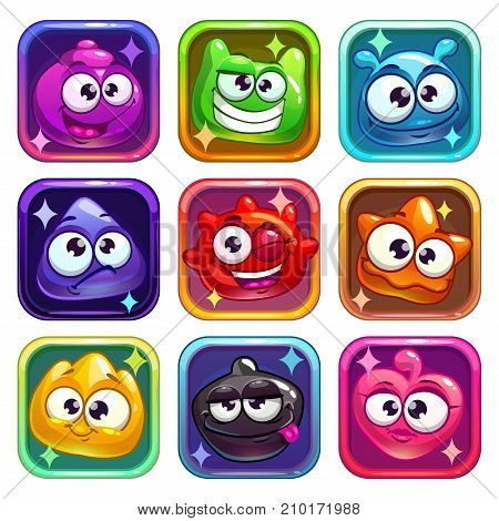 Colorful app icons with funny jelly characters. Vector assets for web or game design.