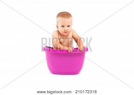 Cute Happy Baby Boy Take Bath In Tub