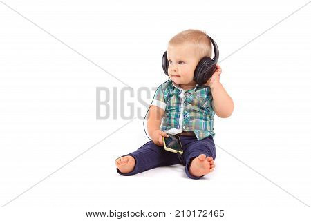 Cute Happy Baby Boy With Headphones