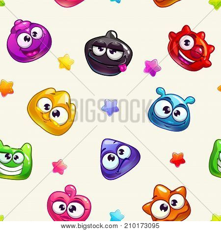 Seamless pattern with funny colorful jelly characters and glossy stars on light background. Vector comic childish texture.
