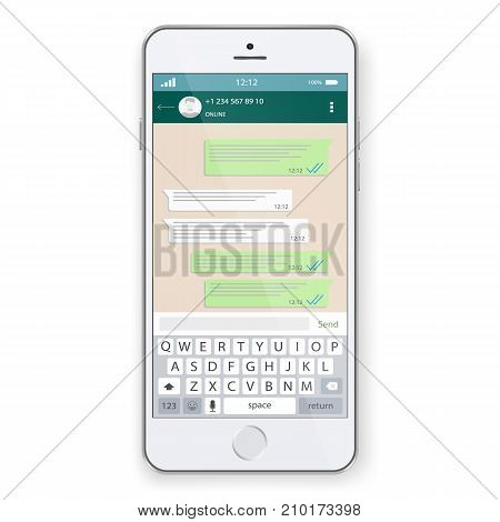 Social network concept. Blank template. Chatting and messaging. SMS messages sending. Vector modern chatting window. Chating and messaging concept. Vector.