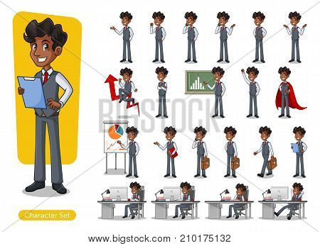 Set of businessman cartoon character design with different poses, isolated against white background.