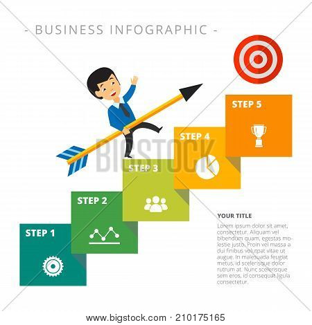 Metaphor chart with five steps. Stage diagram, process chart, layout. Creative concept for infographics, presentation, project, report. Can be used for topics like business, startup, development.