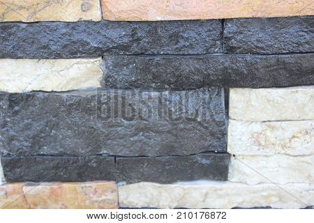 beautiful Colourful Decorative Brick Wall (white, black, brown)