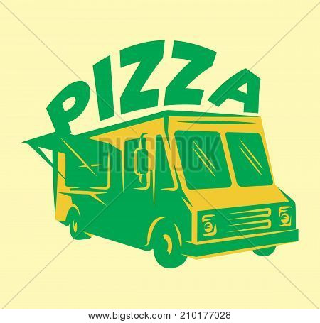 color vector template for menu with pizza delivery car.