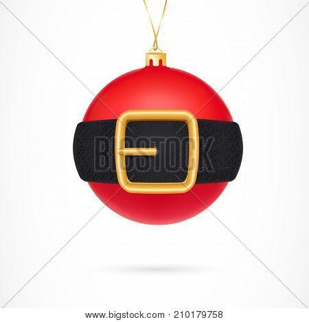 Illustration of red Christmas ball girdled with Santa belt. New Year, Christmas, decoration. Celebration concept. Design element for greeting cards, banners, posters, leaflets and brochures.
