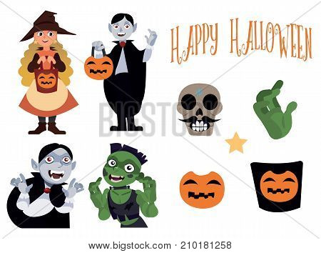 Halloween set with four characters Witch, Vampire and Zombie in cartoon vector style and decoration. Halloween elements