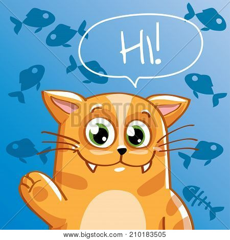 Vector illustration of cute cartoon hapy fun cat. Greeting card, postcard. Hi