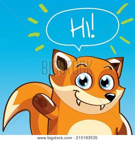 Vector illustration of cute cartoon hapy fun fox. Greeting card, postcard. Hi