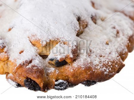 Delicious pie with powdered sugar .  Photo can be used as a whole background.