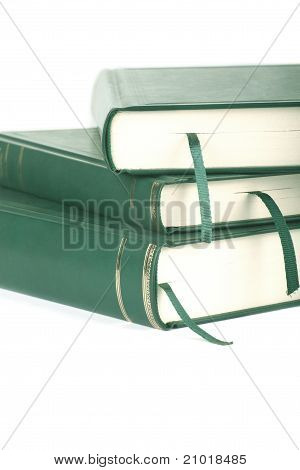 Three Green Blank Books With Bookmarks