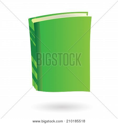 Cartoon green book isolated on white background