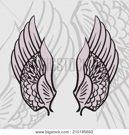 Two Angel Wings Symbol On Grey Image Photo Bigstock