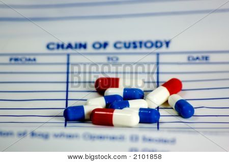 Pills On Chain Of Custody Bag