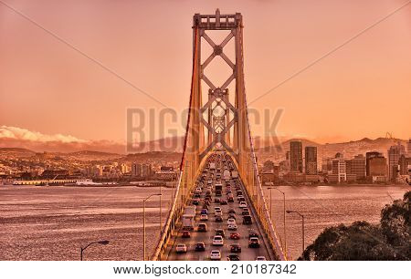 Bay Bridge connecting San Francisco and Oakland in California.