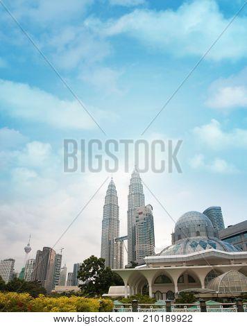 Daytime view of famous Kuala Lumpur city skyline , Malaysia