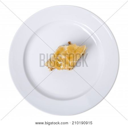 Puff pastry with walnuts. Isolated on a white background.