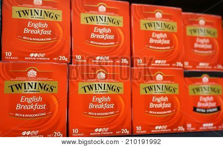 Sydney Australia - October 17 2017: Display of Twinings English Breakfast tea 20g packs on a shelf in grocery store. Twinings brand is owned by Associated British Foods.