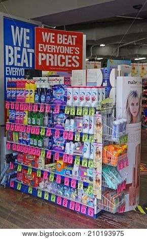 Sydney Australia - October 17 2017: Chemist Warehouse discount retail pharmacy (drug store) interior with product shelves.