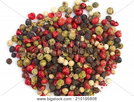Mixture Pepper In On White Background