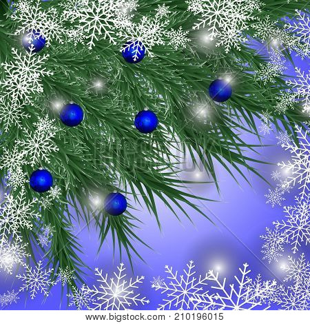 Christmas frame made from fir branches decorated with snowflakes, blue balls isolated on blue background