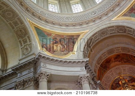 Paris; France- May 02; 2017: Internal painting of the Cathedral of St. Louis of the Invalides.Detail of the dome of the cathedral. Architect Jules Ardouin-Mansart
