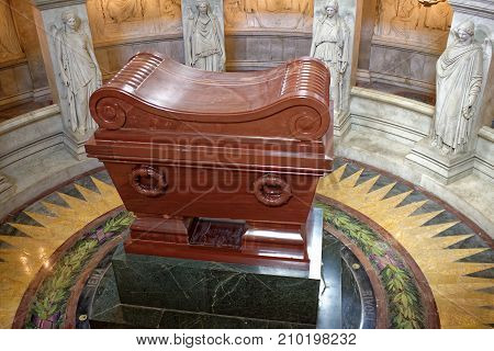 Paris; France- May 02; 2017: The tomb of Napoleon Bonaparte.The St. Louis Cathedral Invalides