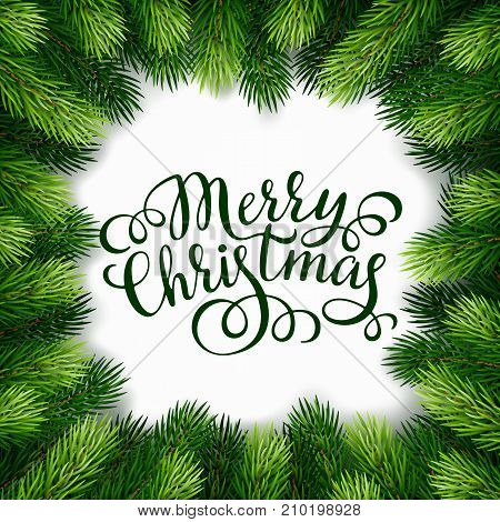 Hand drawing calligraphy phrases with detailed christmas tree Wreath for greeting card, poster, banner, website, header. Vector illustration.