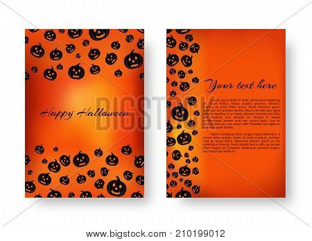 Invitation card with falling black pumpkins for festive halloween design