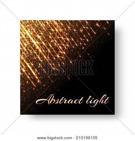 Greeting card with golden flares and flashes on the dark backdrop for Christmas decorating congratulations.