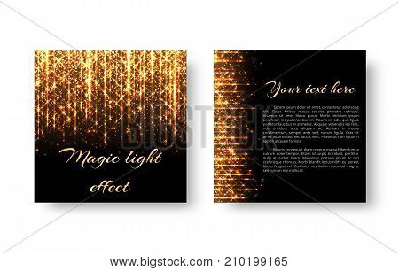 Greeting card with golden rays of light on a dark backdrop. Brilliant background for christmas design.