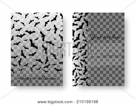 Scary mock-up greeting card with bats for festive Halloween design on a transparent backdrop. Vector illustration.