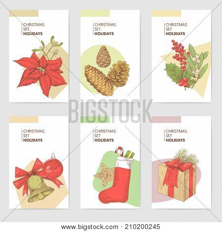 Holly Christmas Vintage Greeting Cards Templates. New Year Hand Drawn Background. Winter Holidays Sketch. Vector illustration