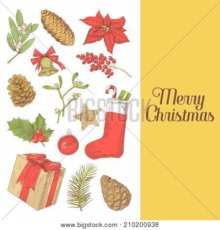 Merry Christmas Greeting Card. New Year Hand Drawn Decoration. Winter Holidays Background. Vector illustration